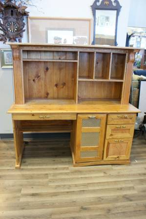 Photo Handmade Engraved Solid Wood Desk With Leather And Gold Detailing - $145 (Omaha)