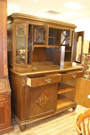 Photo LARGE Antique China Hutch Dark Wood Bevelled Glass 4 Glass Doors - $800 (Omaha)