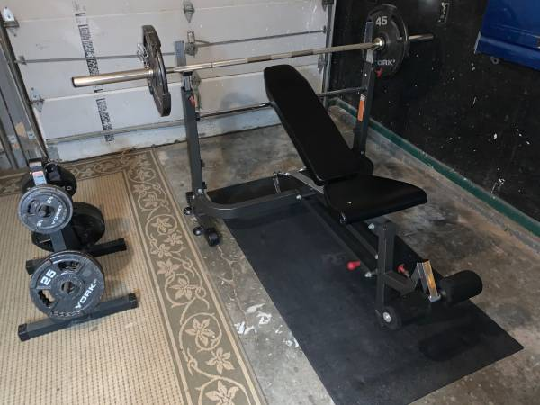 Photo Olympic PowerTec Exercise Bench (Weights  Bar  Weight Tree) - $450 (Omaha)