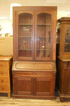 Photo Tall Antique Secretary Hutch Desk Storage Cabinet Glass Doors Storage - $375 (Omaha)