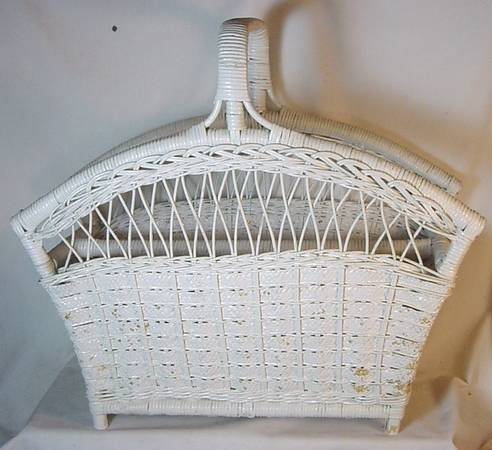 Photo Vintage White Wicker Magazine Rack - $35 (Morris)