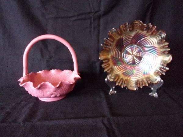 Photo Fenton Carnival Glass-Persian Medallion Basket  Ribbon Tie Bowl - $75 (Newport)
