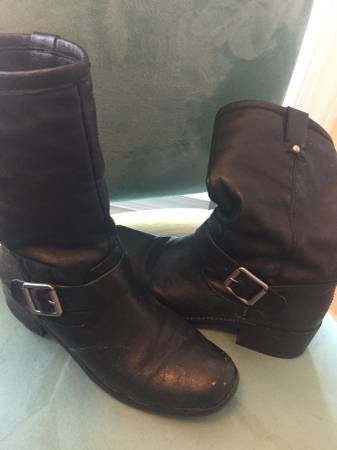 Photo Jessica Simpson Black Soft Leather Harness MotorCycle Riding Boots 8 - $20 (Garner)