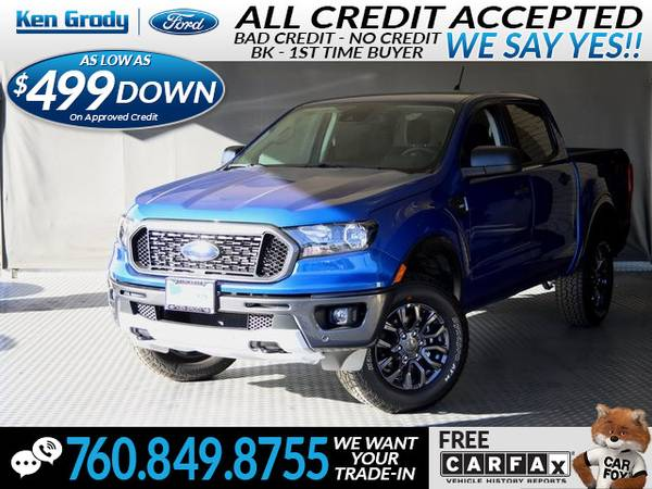 Photo 2019 Ford Ranger XLT (- $499 Down oac -CallText (760) 849-8755)