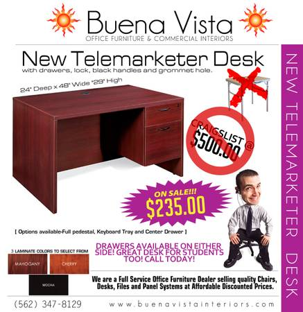 Photo 439ft Telemarketing - SALESPERSON Desk - 24quotD x 48quotW - with drawers - $235 (Whittier)