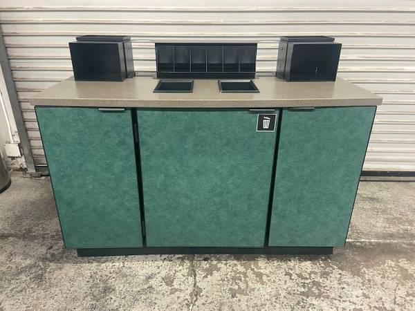 55quot Coffee Creamer Cabinet Condiment Prep Station Cart Trash 4973 - $450 (Orange)