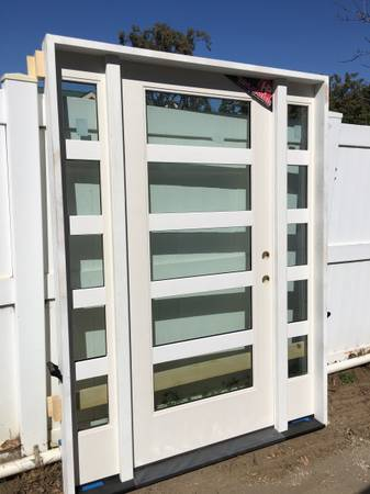 5 x 639 8 inch prehung front door unit right hand with 2 sidelights - $1,800 (Newport Beach)