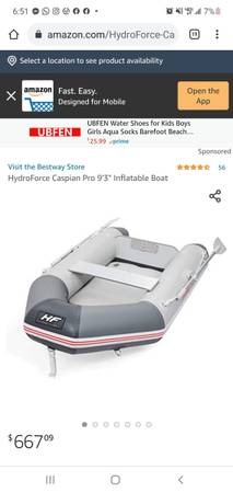 Photo 8-9ft inflatable dinghy w outboard option. Never used. - $700 (Costa Mesa)
