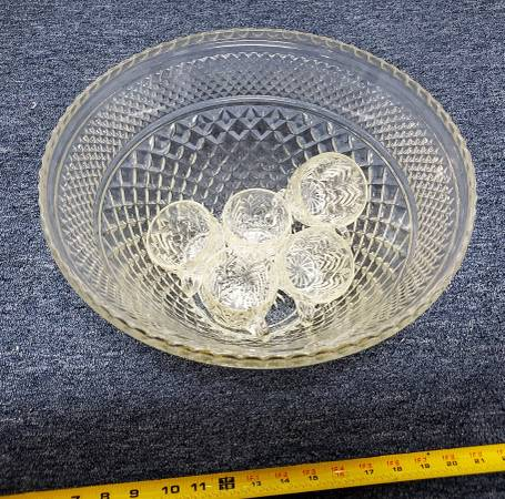 Photo AntiqueVintage Glass Punch Bowl  5 Cups - $30 (Trabuco Canyon)