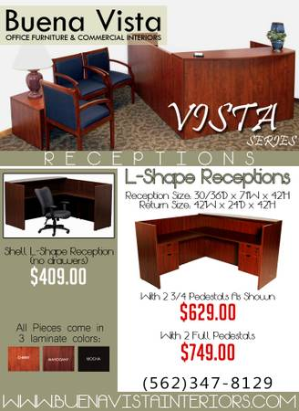 Photo BIG LAMINATE L-SHAPE  RECEPTION DESK  639ft x 639ft  WITH DRAWERS - $749 (Whittier)