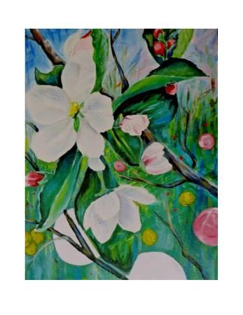 Photo Beautiful floral 39Apple Blossoms39 painting art 16quotx20quot acrylic (San Clemente)