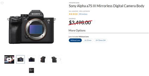 Photo Brand New Sony Alpha a7SIII Mirrorless Digital Camera Body - $3,349 (Irvine)