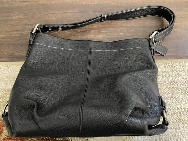 Photo Coach Black Leather Hobo Bag - $50 (Irvine)