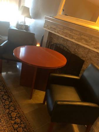 Photo Four Executive Faux Leather Chairs and Mahogany Round Executive Table - $150 (Irvine)