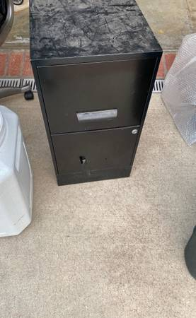 Photo Free office desk and 2 drawer filing cabinet and motorcycle windshields (Corona Del Mar)