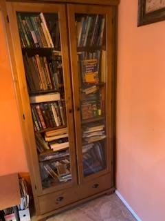 Photo Large Cabinet with glass doors, 6 shelves Display Bookcase storage - $125 (Irvine, Turtle Rock)
