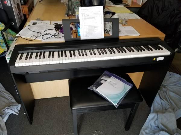 Photo NEW Yamaha P45 88-Key Weighted Digital Piano Home Bundle stand  bench - $595 (COSTA MESA)