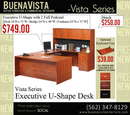 Photo New Executive 3pc U-shape desk with full pedestal drawers - $749 (Whittier)