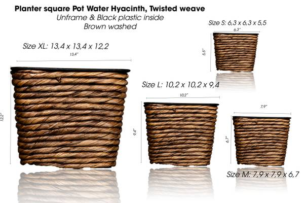 Photo S4 Planter square Pot Water Hyacinth, Twisted weave, unframe  Black - $30 (GARDEN GROVE)