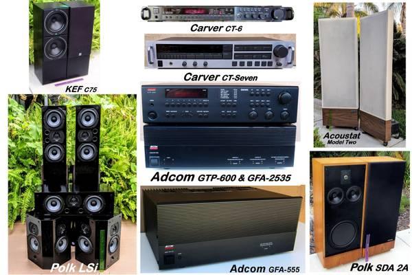 Photo STEREO GEAR Adcom, Carver, Maggies, Acoustat, DefTech, KEF, Polk from - $150 (Vista)