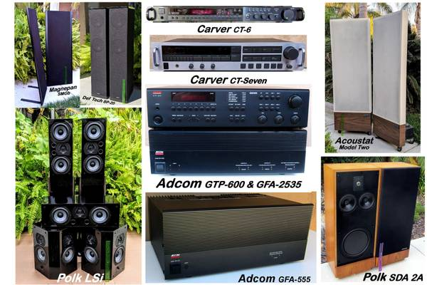 Photo STEREO GEAR Adcom, Carver, Magnepan, Acoustat, DefTech, Polk from - $150 (Vista)