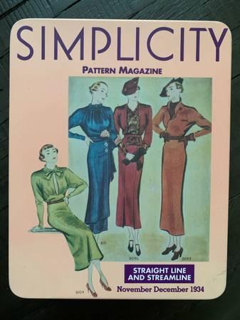 Photo Simplicity Pattern Magazine Vintage Look Tin - NEW - $7 (Orange)