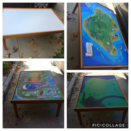 Photo Train  Play table with extra Thomas table top 4 sides - $39 (Mission Viejo)