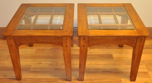 Photo 2 Solid Wood End Tables with Beveled Glass Inserts - $100 (Florence)