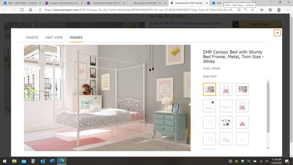 Photo quotCanopy Bed Single Twin Metal White - $50 (Waldport)