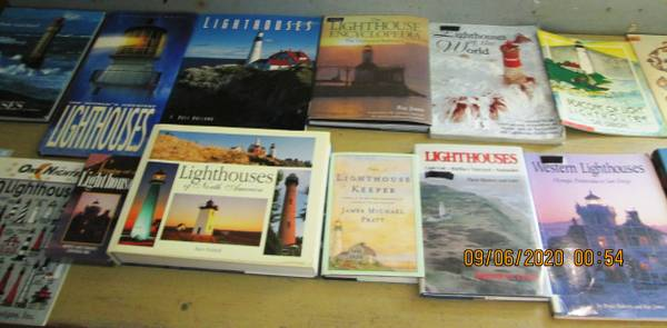 Photo 14 Books  1 New VHS Tape all about Lighthouses of the world - $20 (KISSIMMEE)