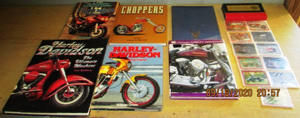 Photo 6 Motorcycle Books 11 Motorcycle Refrigerator Magnets Harley Davidson - $20 (KISSIMMEE)
