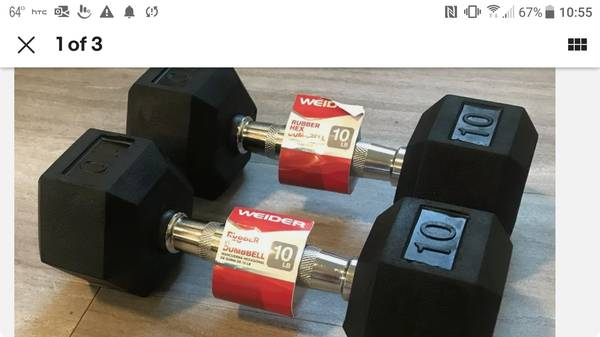 Photo Barbell dumbbell pair 10 pound Weider rubber coat gym weight pro - $39 (Davenport Chions Gate)