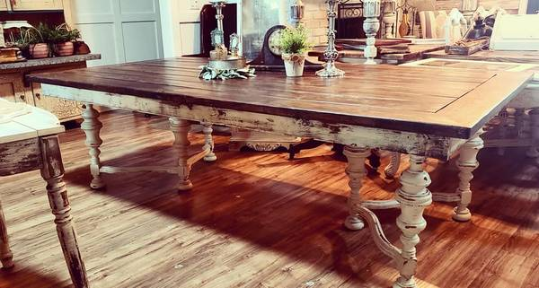 Photo Farmhouse shabby chic custom harvest table antique jacobean legs dinin - $1850 (windermere)