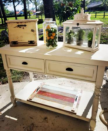 Photo Farmhouse shabby chic large double sided console ktichen island accent - $400 (windermere)