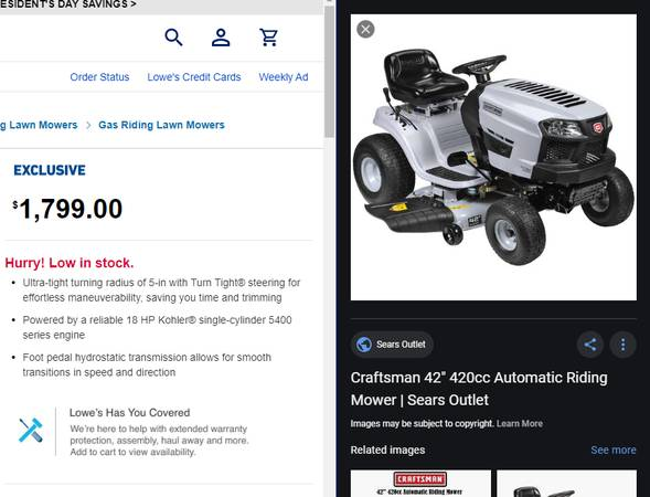 Photo Like NEW Craftsman Lawn Tractor A condition - $1,400 (Oviedo)
