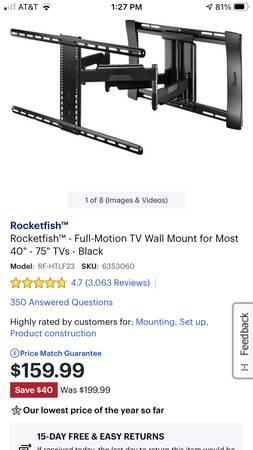 Photo RocketFish Heavy Duty Full Motion 40-75 TV Wall Mount. - $120 (Orlando)