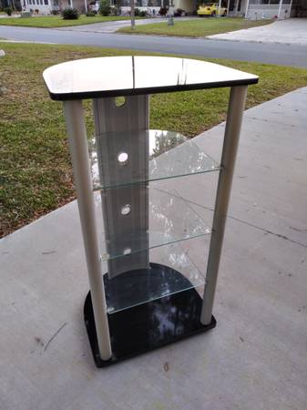 Photo STEREO EQUIPMENT  TURNTABLE STAND Metal w Glass Shelves - $99 (Altamonte Springs)