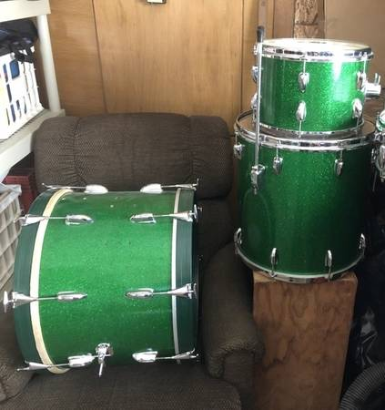 Photo 1964 Slingerland Green Glitter Sparkle drums Rare color - $1,206 (Fairfield IA)