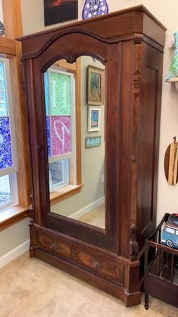 Photo Solid Carved Walnut Chifferobe - $899 (Kitty Hawk)