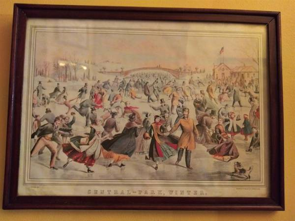 Photo Vintage Currier  Ives Lithograph Print Central Park Winter - $20 (Old Louisville)