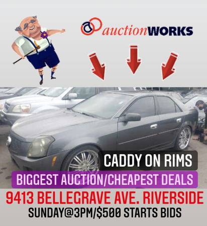 Photo Auction TODAY Sunday 3pm(warranty on cars) credit cards ok-bids star - $500 (Free tacos 9413 bellegrave ave. Riverside)