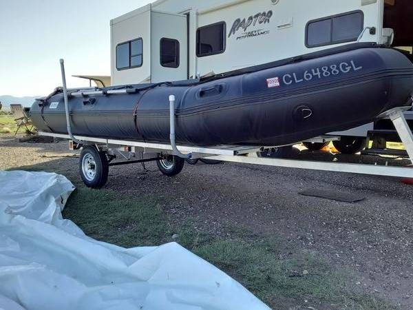 Photo Brand New Bris 1539 heavy duty inflatable boat  25 hp suzuki  trailer - $1