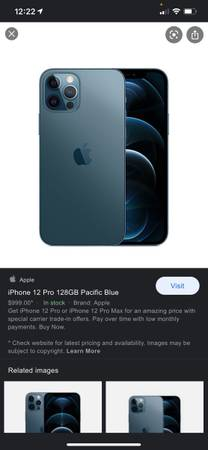 Photo Brand new in box matte blue iPhone 12 PRO - $1,100