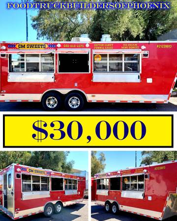 Photo FSBO Fire Engine Red Food  Concession Trailer Cotton Candy Ice Cream