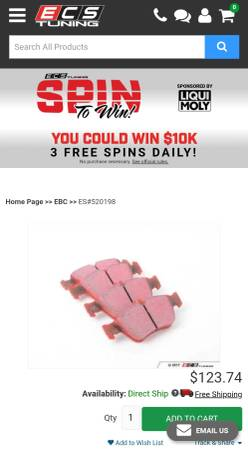 Photo Mercedes Benz Performance Red EBC Brake Pads (Front) - NEW - $100