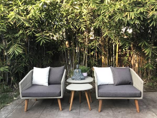 Photo Modern Grey  Warm White Rope Chair - - $395 (REDONDO BEACH)