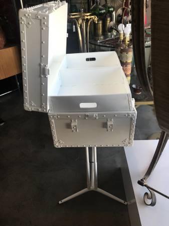 Photo Vintage Powder Coated Metal Steamer Trunk with Stand Storage Display - $250 (Palm Springs)