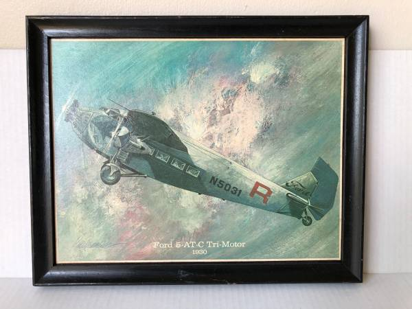 Photo Ford 5-AT-C Tri-Motor 1930 Airplane Painting On Wood By Jerome Biederm - $35 (Panama City Florida)