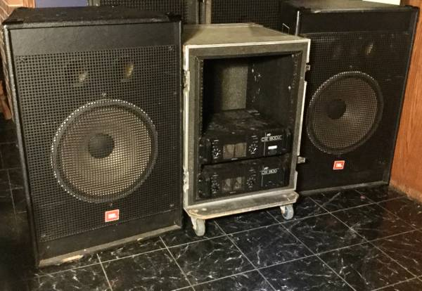 2 JBL 18 Sub Speakers  Power Amps  Rolling Road Rack Case - $495 (Cash Or Trade. $495  $595)