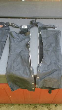 Photo 2 Pair Leather Motorcycle Chaps (1)Large, (1)XL Harley-Davidson Style - $50 (Coshocton)
